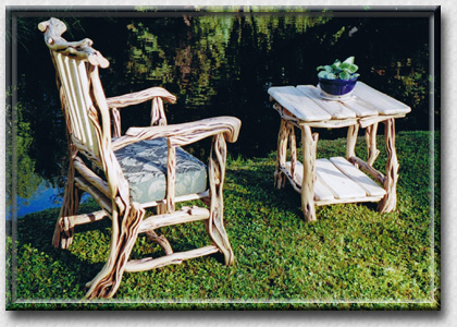 SPIRIT of the WEST, Log Furniture - Arm Chair and Table made of Black Sage - Beautiful Rustic Log Furniture
